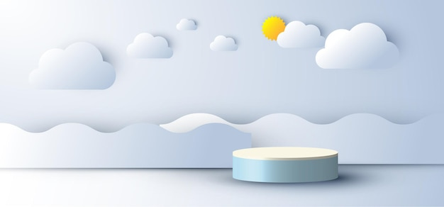 Exibição de pódio vazio de cena mínima abstrata realista 3d com nuvem e sol, estilo de corte de papel de onda do mar no fundo do céu azul. design para apresentação de produto, maquete, etc. ilustração vetorial