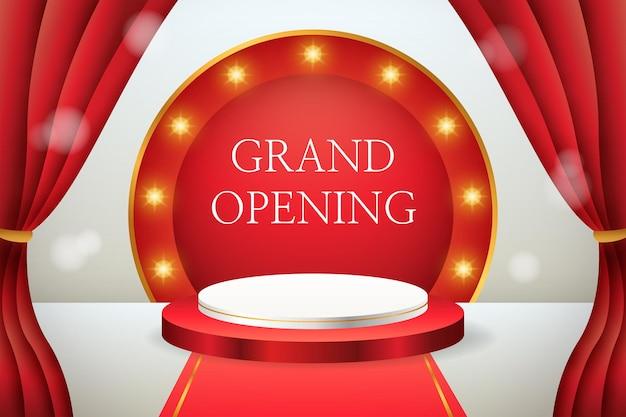 Exibição de produto 3d com inauguração em pódio vermelho e branco com cortinas