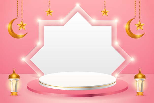 Exibição de produto 3d islâmico com tema de pódio rosa e branco com lua crescente, lanterna e estrela para o ramadã