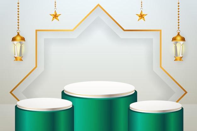 Exibição de produto 3d islâmico com tema de pódio verde e branco com lanterna e estrela para o ramadã