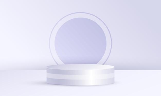 Exibição de produto em cena mínima com plataforma geométrica, pódio do cilindro em fundo de círculo branco acinzentado