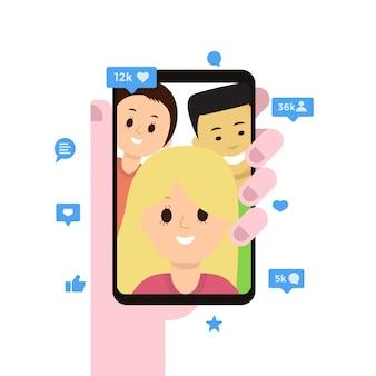 Exibição de smartphone com aplicativo de mídia social aberto