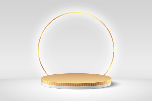 Exibição redonda abstrata. pódio de luxo e cena mínima de parede de textura branca e dourada, forma geométrica de renderização 3d.