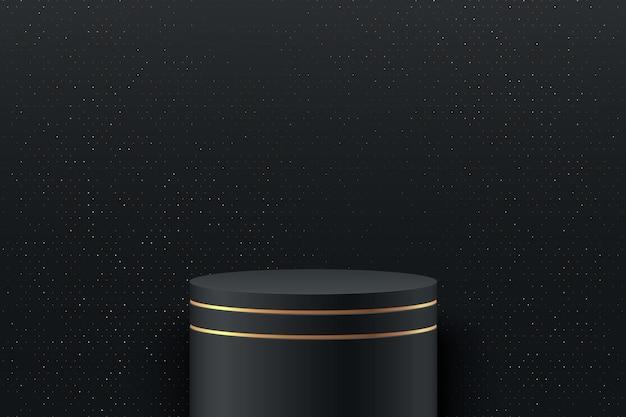 Exibição redonda abstrata. pódio preto e dourado e cena de parede de textura mínima