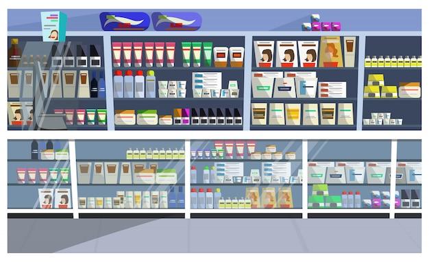 Exibir com ilustração de produtos de cabelo