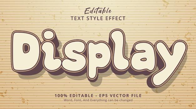 Exibir texto em estilo de cor vintage, efeito de texto editável