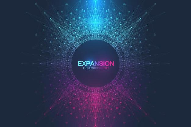 Expansão da vida. fundo de explosão colorido com linha conectada e ilustração de pontos