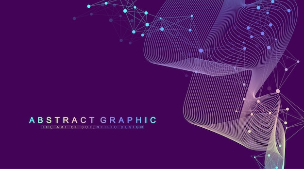 Expansão da vida. fundo de explosão colorido com linha e pontos conectados, fluxo de ondas. tecnologia de visualização quantum. explosão de fundo gráfico abstrato, explosão de movimento, ilustração.