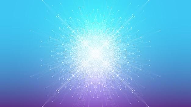 Expansão de fundo abstrato geométrico da vida. fundo de explosão colorido com linha conectada e pontos, fluxo de onda. explosão de fundo gráfico, explosão de movimento. ilustração científica do vetor.