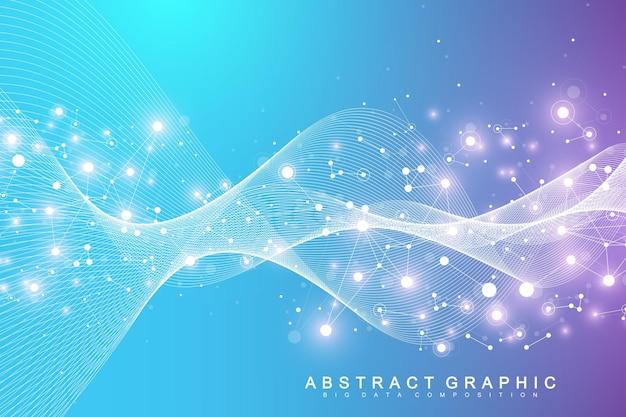 Expansão de vida. fundo de explosão colorido com linha conectada e pontos, fluxo de onda. tecnologia de visualização quantum. explosão de fundo gráfico abstrato, explosão de movimento, ilustração vetorial.
