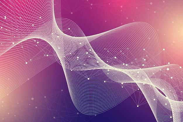 Expansão de vida. fundo de explosão colorido com linha conectada e pontos, fluxo de ondas. tecnologia de visualização quantum. explosão de fundo gráfico abstrato, explosão de movimento, ilustração vetorial.