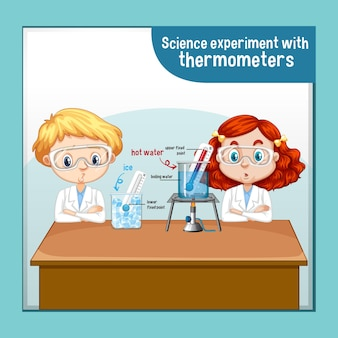 Experiência científica com termômetros