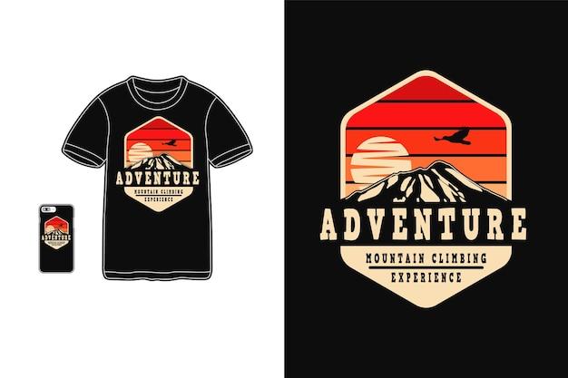 Experiência de alpinista aventura, silhueta de design de camiseta estilo retro