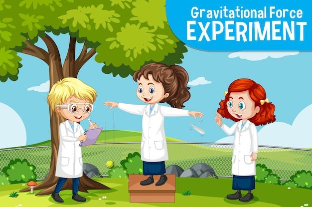 Experiência de força gravitacional com personagem de desenho animado de crianças cientistas