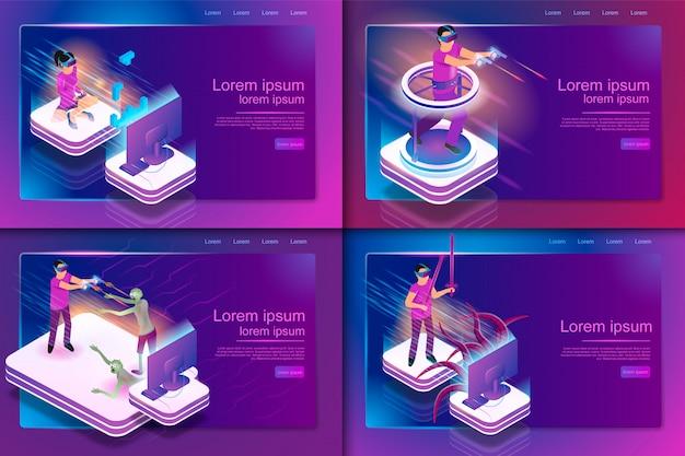 Experiência de jogos com conjunto isométrico em realidade virtual