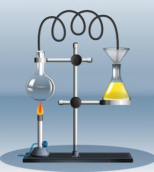 Experiência de laboratório com líquido em chamas
