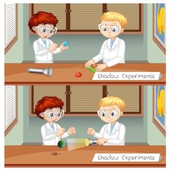 Experiência de sombra com personagem de desenho animado de crianças cientistas
