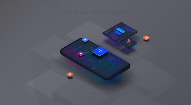 Experiência do usuário maquete de smartphone em fundo preto com interface de usuário interativa