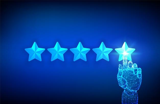 Experimente o conceito de classificação e confiança. mão robótica apontando cinco estrelas. aumente a classificação.