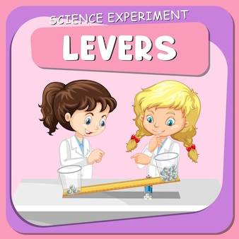 Experimento científico de alavancas com personagem de desenho animado de crianças cientistas