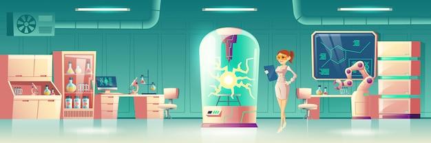 Experimento científico em laboratório futuro