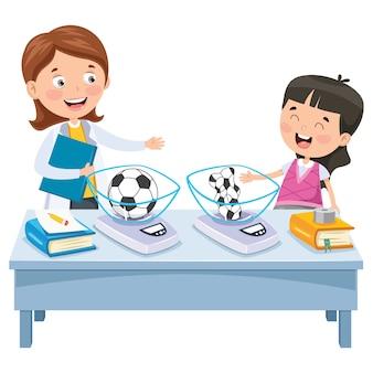 Experimento de aprendizagem para crianças em idade escolar
