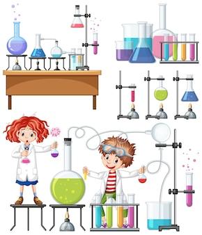 Experimento de pesquisador em laboratório
