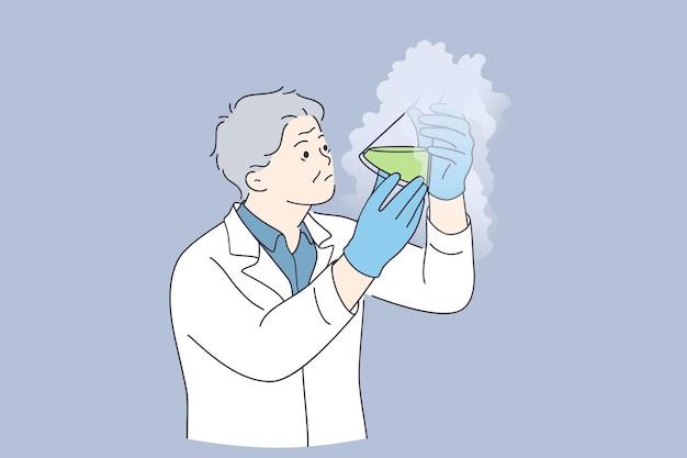 Experimento químico, ciência, conceito de pesquisa