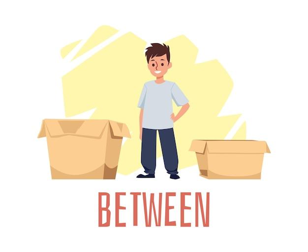 Explicação de preposição de lugar com personagem de desenho animado de criança fofa em pé entre caixas de papelão, ilustração vetorial plana isolada na superfície branca