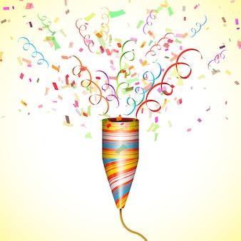 Explodindo popper de festa com confete
