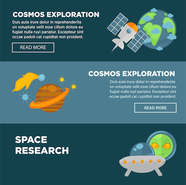 Exploração do cosmos e conjunto de modelo de banner promocional de pesquisa espacial