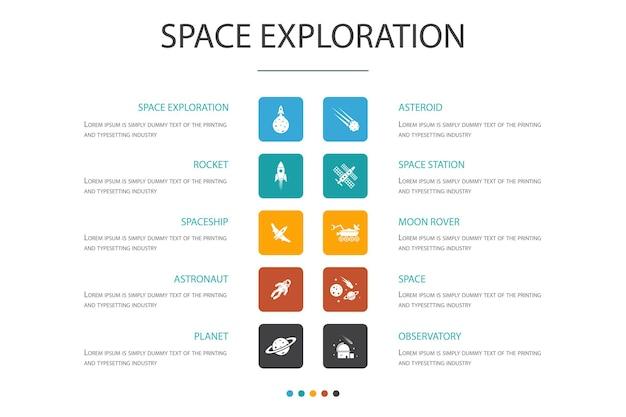 Exploração do espaço infográfico 10 opção concept.rocket, nave espacial, astronauta, ícones do planeta