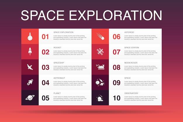 Exploração do espaço infográfico 10 opção template.rocket, nave espacial, astronauta, ícones do planeta