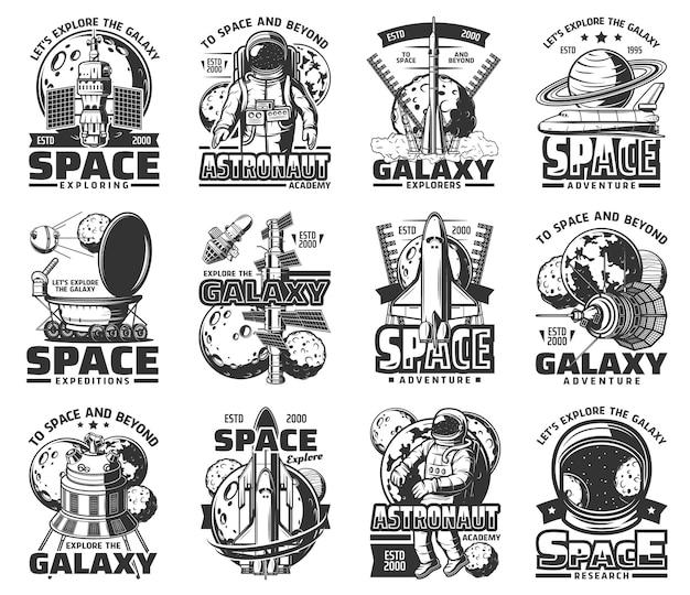 Exploração do espaço sideral e galáxia, ícones de astronautas, foguetes de nave espacial do universo