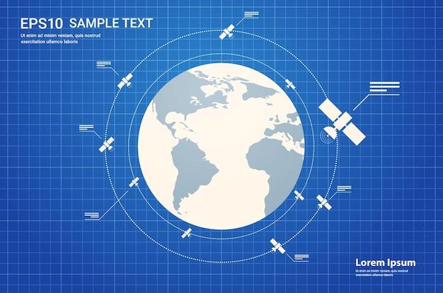 Exploração do espaço, tecnologia da astronáutica, satélite de observação voando, voo espacial orbital ao redor da espaçonave terrestre no cosmos