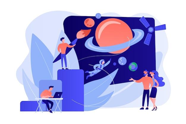 Exploração espacial de rv, viagem cosmos de realidade virtual