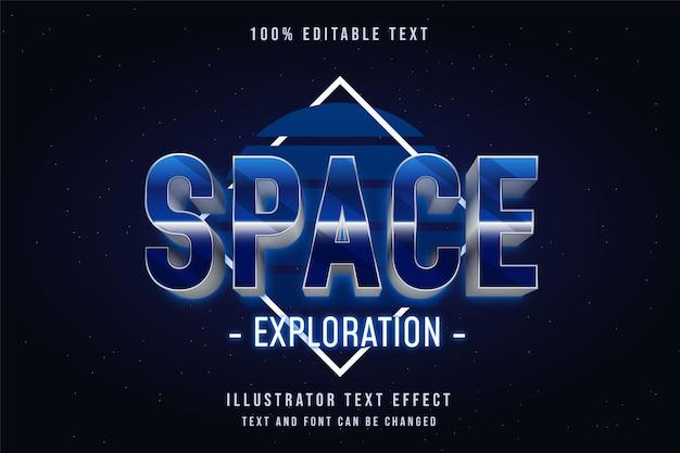 Exploração espacial, efeito de texto editável em 3d gradação azul estilo de texto neon dos anos 80