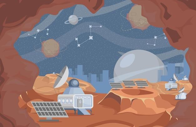 Exploração espacial vector ilustração plana rover na superfície do planeta científico
