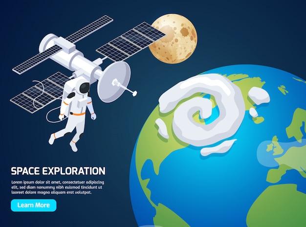 Exploração isométrica com texto aprender mais botão e imagens de astronauta de caminhada espacial e ilustração vetorial de satélite