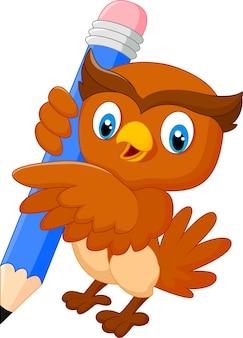 Explorações de coruja de desenho animado um lápis