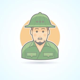 Explorador africano, ícone do homem safari. ilustração de avatar e pessoa. estilo delineado colorido.