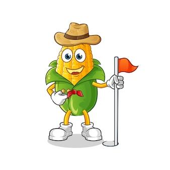 Explorador de milho. personagem de desenho animado