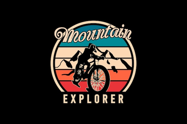 Explorador de montanha, ilustração de desenho à mão em estilo vintage retrô