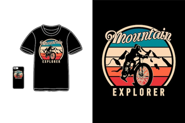 Explorador de montanha, tipografia de maquete de siluet de mercadoria de camiseta