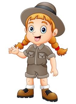 Explorador de mulheres dos desenhos animados acenando