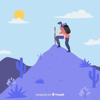 Explorador desenhado de mão com fundo de mochila
