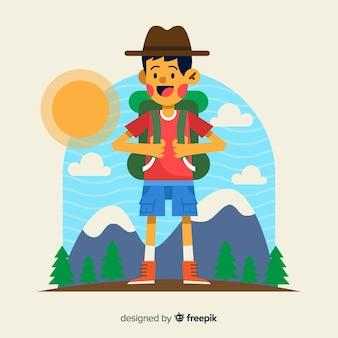 Explorador desenhado de mão com mochila