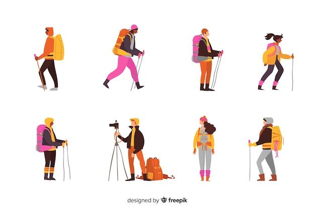 Explorador plano com coleção de mochila