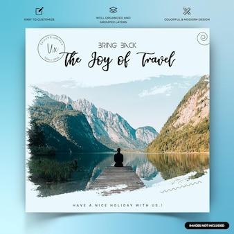 Exploradores de viagens modelo de banner da web de postagem no instagram vetor premium