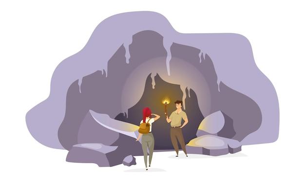 Exploradores em ilustração de caverna plana